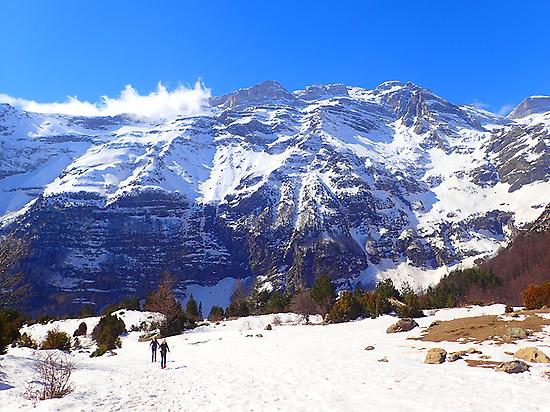 Snowshoeing in Ainsa, the Pyrenees.