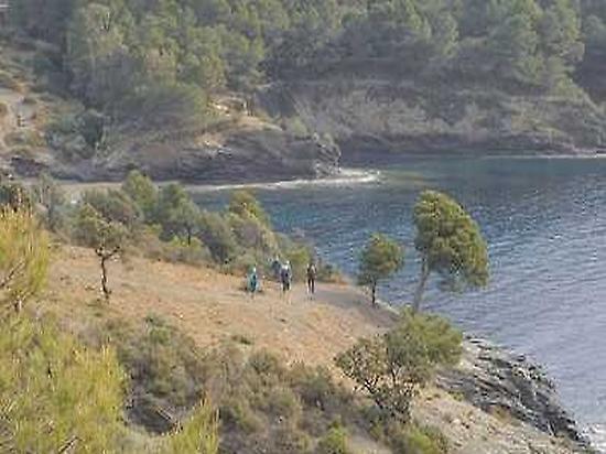 Walking along the cliffs.