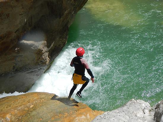 Kid jump in Sierra de Guara
