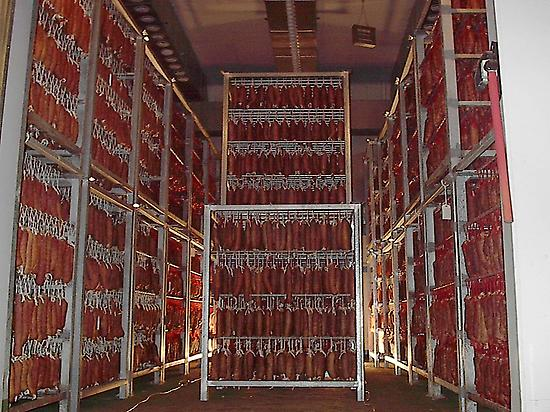 Iberian pig products drying room.