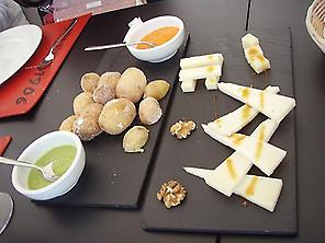 Cheese and Mojos with Wrinkled potatoes
