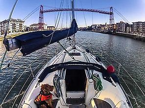 Sailing the estuary of Bilbao