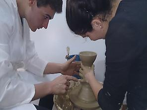 Working in the potter wheel