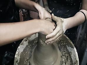 Working on the potter's wheel