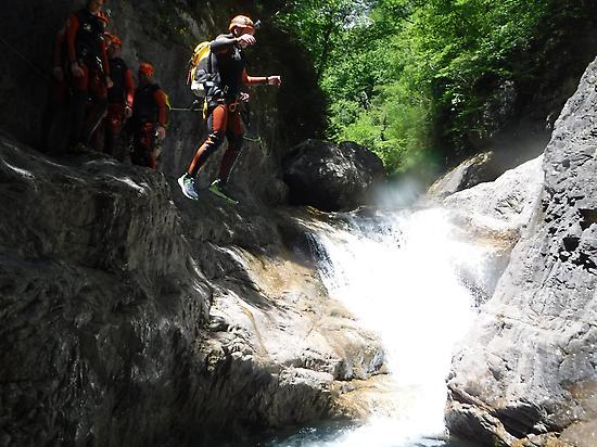 I jump doing canyoning.