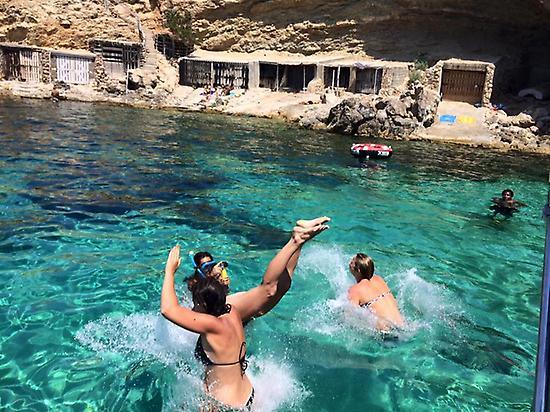 swimming near the catamaran