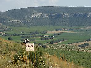 View of the casa rural from the mountain