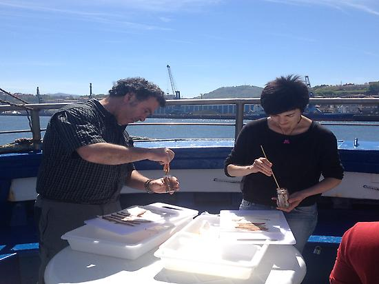 Preparing the anchovies