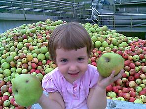 With apples