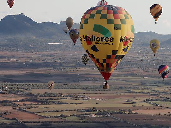 Flying above the island of Mallorca