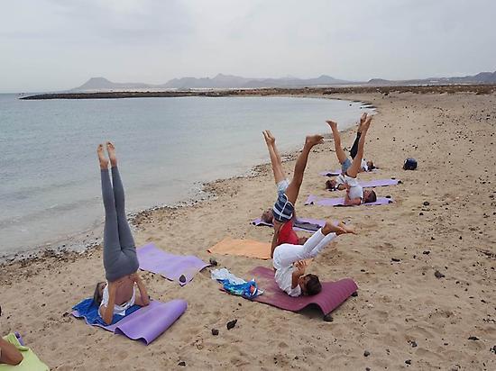 "Yoga class on the beach ""La Concha"""