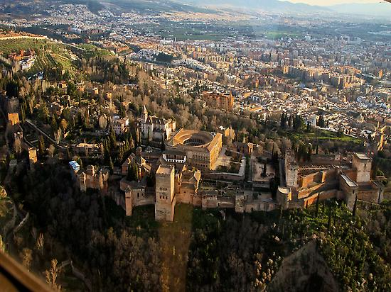 Aerial view Alhambra and city of Granada