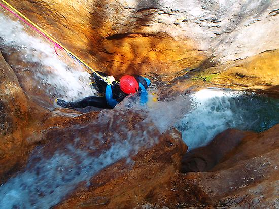 Abseiling in a canyon of Guara