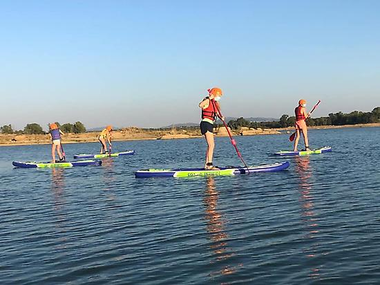 Practicing Stand up paddle