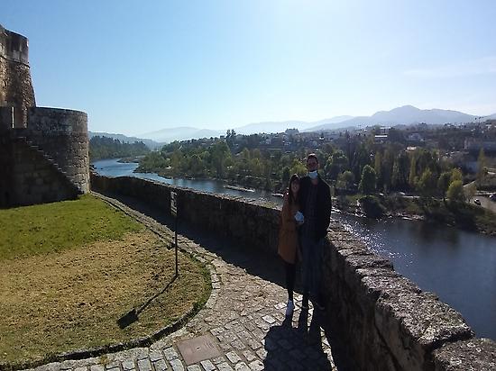 Castle,Miño River and Portugal