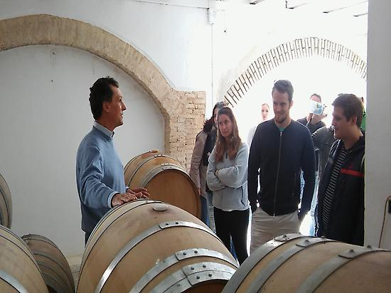 at the barrel room, with the wine maker