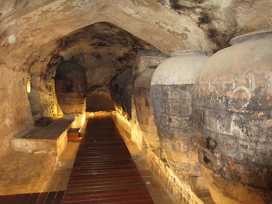 Clay pots in wine caves, in Requena