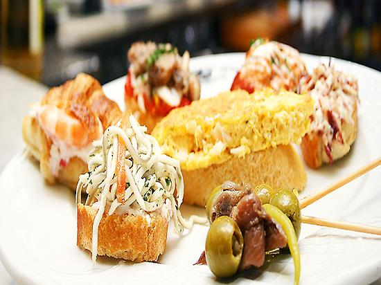 Variety of pintxos