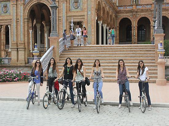 En Plaza de España con bicicleta