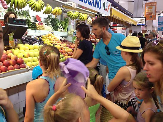 Students during a visit to the market