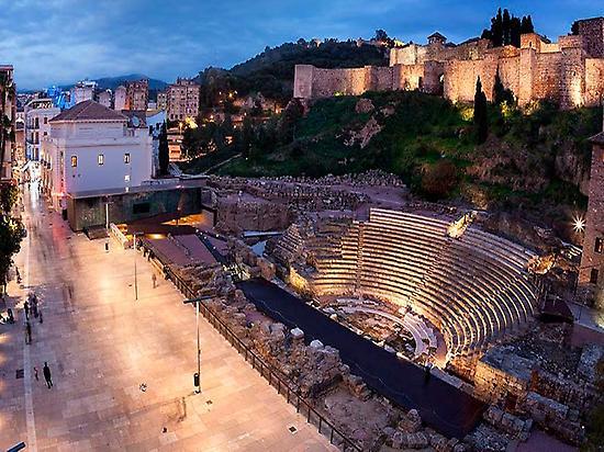 Alcazaba and Roman Theatre in the evenin