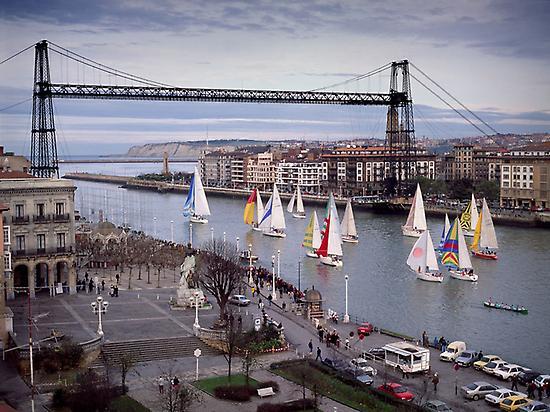 Sailing the Bilbao River.