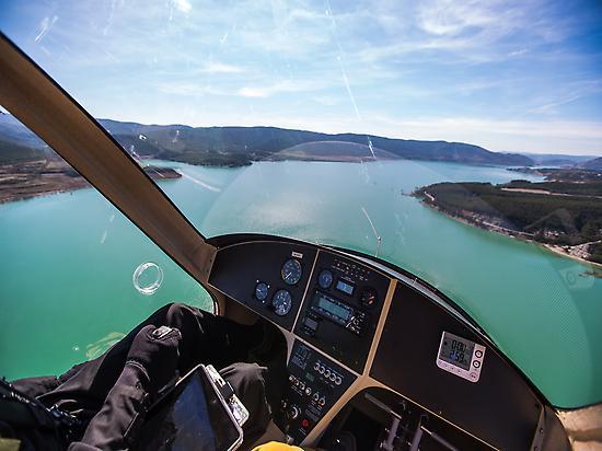 Flying over Pantano de Yesa.
