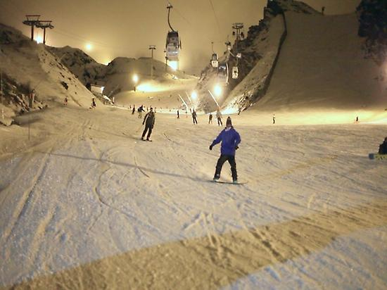Night Skiers and Snowboarders