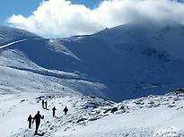 Snowshoeing in snowy mountains, Ezcaray